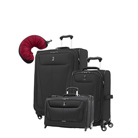 "Travelpro Maxlite 5 | 4-PC Set | Carry-On Rolling Garment, 21"" Carry-On & 25"" Exp. Spinners with Travel Pillow"