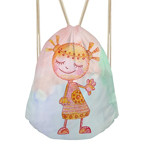 Bigcardesigns Drawstring Backpack Kid Painting Robots Print Yoga Bag Gymsack