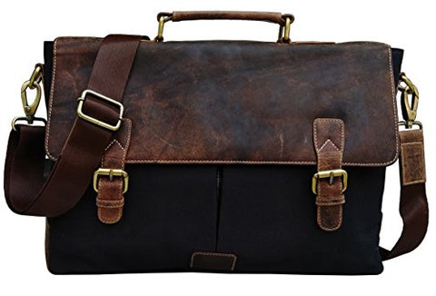 "Genuine Leather Vintage 15.6"" Laptop Canvas Messenger Satchel Bag"