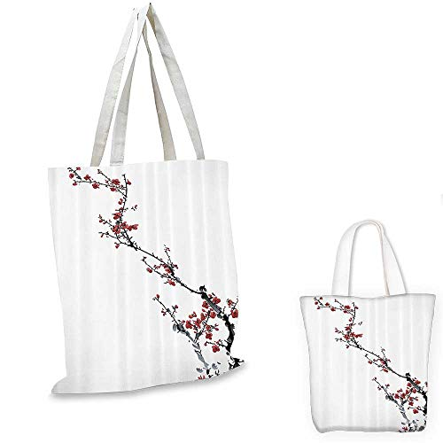 Watercolor Flowers Decorations Collection canvas messenger bag Spring Cherry Branches Classic Asian