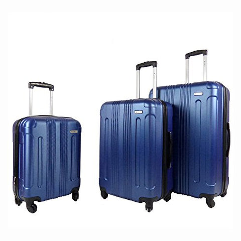 Amka Remus Hardside 3-Piece Expandable Spinner Upright Luggage Set, Navy