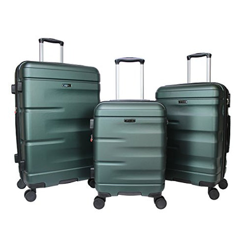 Dejuno Emerson 3-Piece Hardside Expandable Spinner Luggage Set, Green