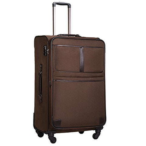 Coolife Luggage Expandable Suitcase Spinner Softshell Tsa Lock (M(24In), Brown)