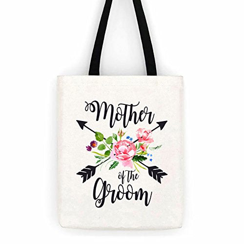 Mother of the Groom Floral Arrows Cotton Canvas Tote Bag School Day Trip Bag