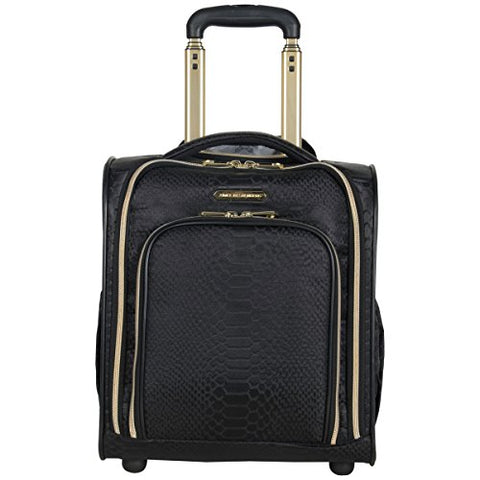 Aimee Kestenberg Women'S Jacquard Python Printed Polyester 2-Wheel Underseater Carry-On, Black