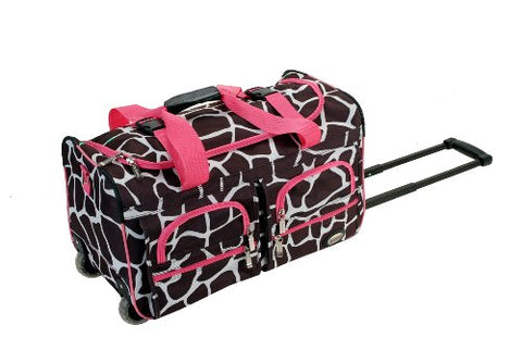 Rockland Luggage Rolling 22 Inch Duffle Bag, Pink Giraffe, One Size