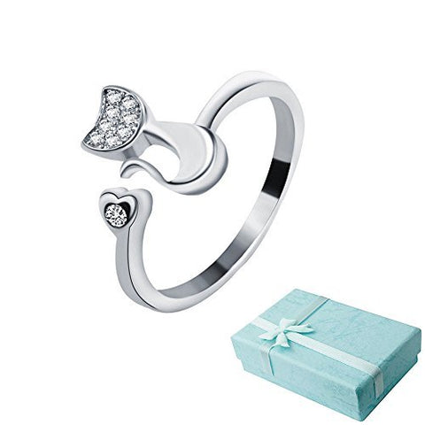 Acxico Little Cat 925 Sterling Silver with Crystal Inlaid Adjustable Ring + 1 Gift Box by Acxico