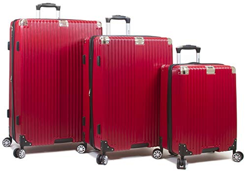 Dejuno Moda Scratch Resistant 3-Piece Hardside Spinner Luggage Set-Red