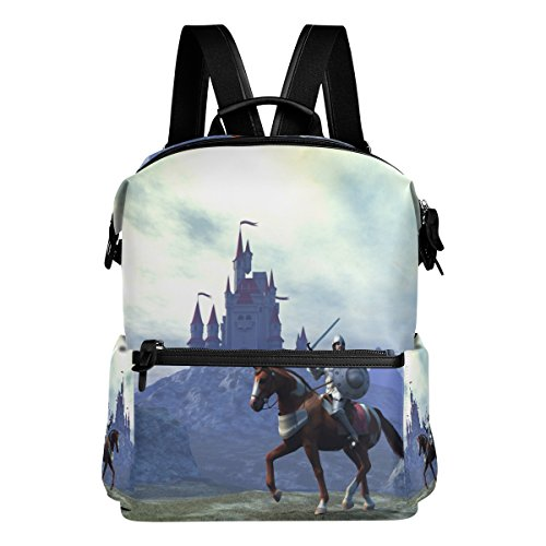 ColourLife Knight and Castle Stylish Casual Shoulder Backpacks Laptop School Bags Travel Multipurpose Daypack for Women Girls Kids