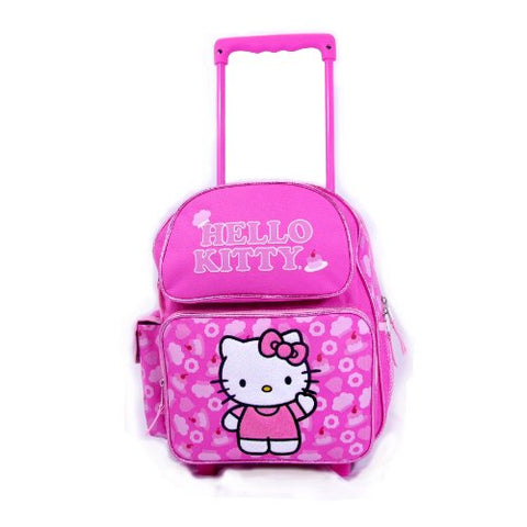 "Sanrio Hello Kitty Rolling Backpack Kitty Wheeled 12"" Backpack Pink"