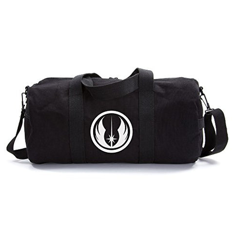 Jedi Order Logo Sport Heavyweight Canvas Duffel Bag in Black& White, Large