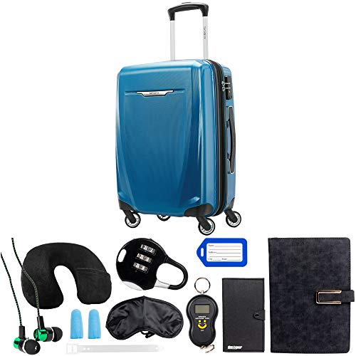 Samsonite Winfield 3 DLX Spinner 56/20 Carry-On, Blue (120752-1112) with Deco Gear 10 Piece Luggage Accessory Ultimate Travel Bundle