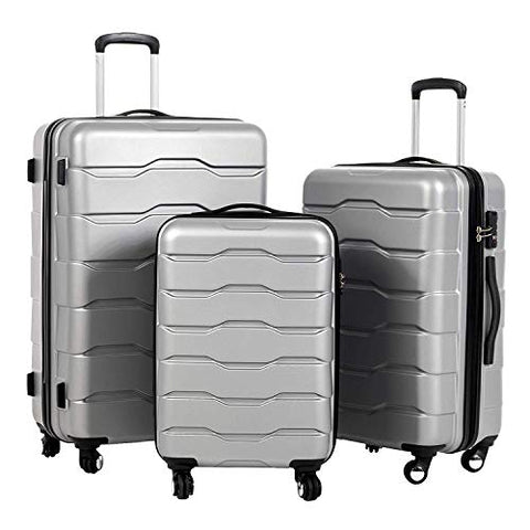 "Murtisol 3 Pieces ABS Luggage Sets TSA Lock Lightweight Durable 210D Lining Trolley Cases Spinner Suitcase 20"" 24"" 28"",3PCS Silver"
