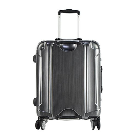 "TPRC 20"" ""Luna Collection"" Carry-On Luggage with Sturdy Aluminum Frame, WIDE-BODY, Dual 8-Wheel Spinner System, and TSA Locks, Brushed Black Color Option"