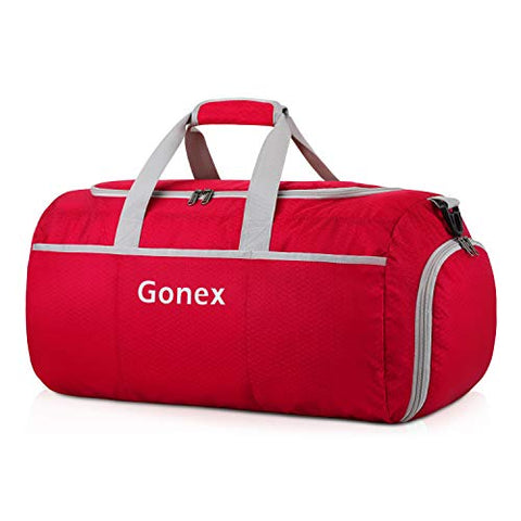 Gonex 70L Packable Travel Duffle, Lightweight Luggage Duffel Sports Gym Bag with Shoe Compartment Red