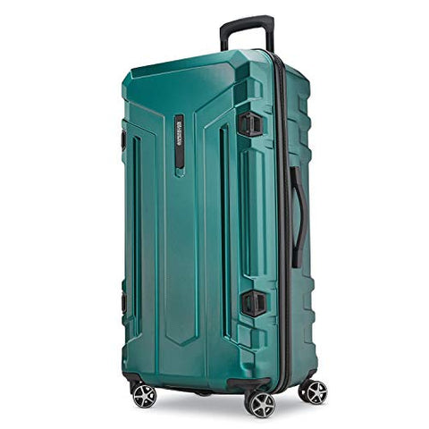 American Tourister Trip Locker Hardside Checked Luggage with Dual Spinner Wheels, Dark Green