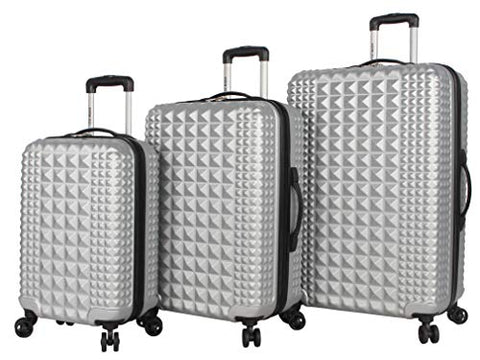 Steve Madden Armor 3 Piece Luggage Set Hardside Suitcase With Spinner Wheels … (One Size, Armor Silver)