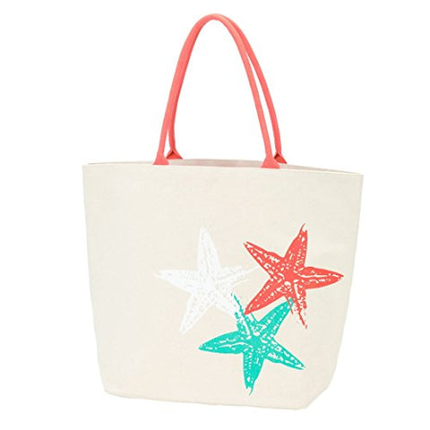 Starfish Canvas 22.5 x 17 inch Womens Cotton Canvas Beach Bag Tote with Handles
