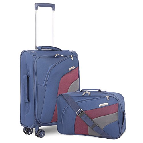 "Aerolite 21"" Carry On Ultra Lightweight Spinner Suitcase & Flight Bag Under Seat Shoulder Bag Set (Navy)"