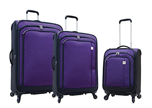Samboro Feather Lite Lightweight Luggage Spinners - 3 Piece Set (Purple Color)