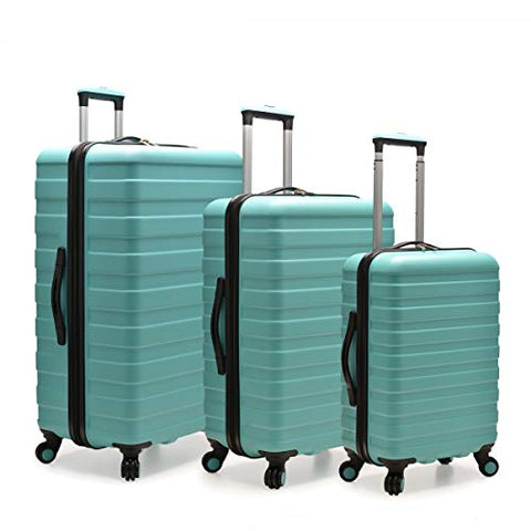 U.S. Traveler US09112E Cypress Colorful 3 Piece Hardside Spinner Luggage Set44; Mint