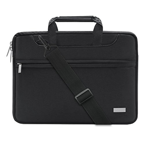 MOSISO Laptop Shoulder Bag Compatible 2018 MacBook Air 13 A1932 Retina Display/MacBook Pro 13 A1989 A1706 A1708 USB-C 2018 2017 2016/Surface Pro 6/5/4/3, Briefcase Handbag with Trolley Belt, Black