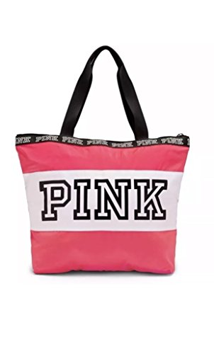 Victoria'S Secret Pink Neon Hot Pink White Logo Zip Tote Bag