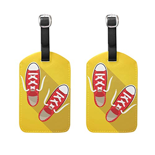 PU Leather Luggage Tags 2PCS with Red Sneakers On Bright Yellow Background for Suitcase Travel Bag