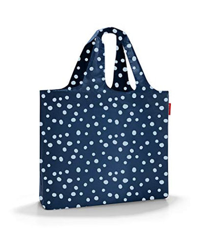 reisenthel Mini Maxi Beachbag, Foldable and Spacious Lightweight Tote Bag with Zippered Pouch, Water-repellent, Spots Navy