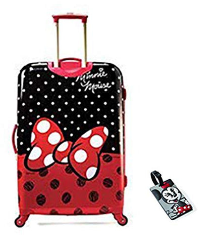 American Tourister Disney Minnie Mouse Red Bow Hardside Spinner 28 with Matching ID Tag