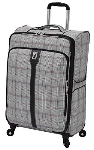 "London Fog Knightsbridge 25"" Expandable Spinner, Grey Burgundy Glen Plaid"