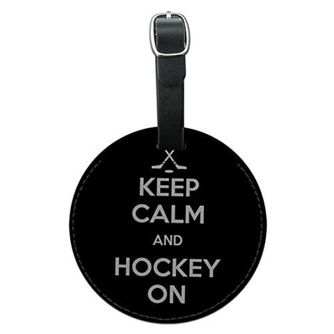 Graphics & More Keep Calm and Hockey on Sports Round Leather Luggage Id Tag Suitcase Carry-on, Black