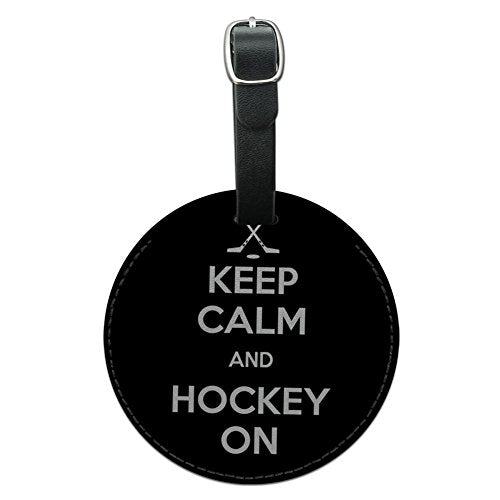 Graphics & More Keep Calm And Hockey On Sports Round Leather Luggage Id Tag Suitcase Carry-On,