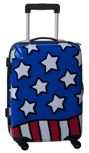 Ed Heck Luggage Stars N Stripes 21 Inch Hardside Spinner, Red/White/Blue, One Size