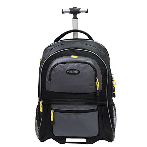 "Tprc 19"" Black With Yellow Trims ""Sierra Madre"" Rolling Backpack Includes Spacious Front And Side"