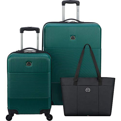 DELSEY Paris 3-Piece Hardside Set (Carry-on, Checked Suitcase and Weekender Bag), Dark Green