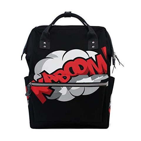 Backpack Comic Effect Kaboom Mens Laptop Backpacks Shoulder Hiking Daypack