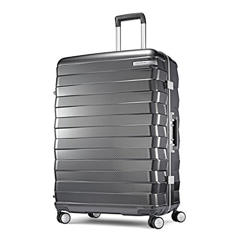 Samsonite Framelock Hardside Checked Luggage With Spinner Wheels, 28 Inch, Dark Grey