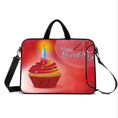 "13"" Neoprene Laptop Bag Sleeve with Handle,Adjustable Shoulder Strap & External Side Pocket,21st Birthday Decorations,Abstract Sun Beams Backdrop Party Cupcake with Frosting Image,Red and Orange"