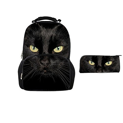 Bigcardesigns 3D Black Cat School Bag Backpack With Pencil Case