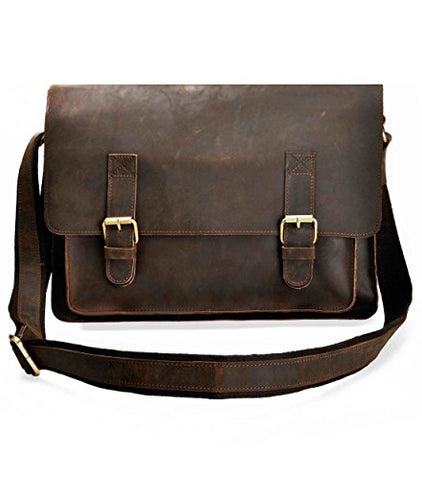 Zlyc Men Vintage Handmade Leather Messenger Bag Shoulder Briefcase Fit 14 Inch Laptop, Dark