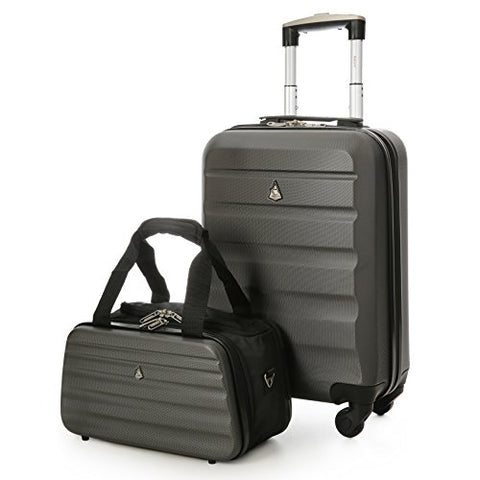 "Aerolite 22x14x9"" Hard shell Suitcase Spinner Carry On + Under Seat Holdall"