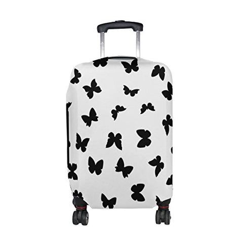 Cooper Girl Black Butterflies Travel Luggage Cover Suitcase Protector Fits 31-32 Inch