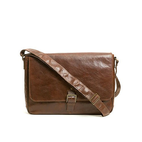 "Boconi Becker Buckle Leather 15"" Laptop Messenger Bag in Whiskey"