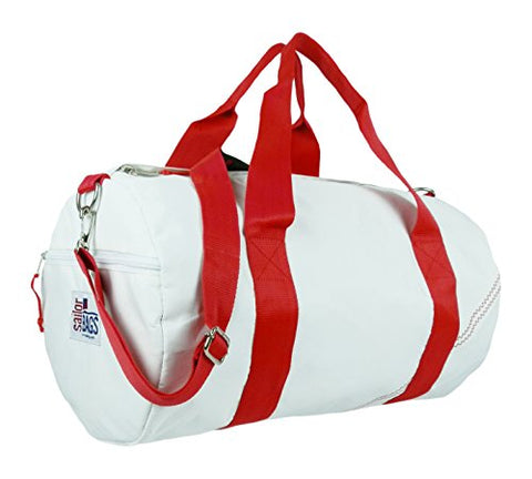Sailor Bags Round Duffel with Red Straps, Medium, White/Red