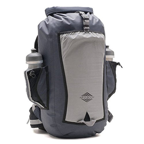 Aqua Quest SPORT 25 Gray Waterproof Backpack 25L Reflective for Safety for Motorcycle, Bicycle,