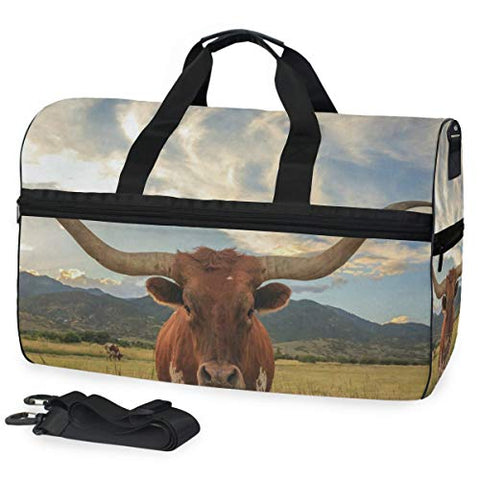 Texas Longhorn Steer Sports Gym Bag with Shoes Compartment Travel Duffel Bag for Men Women