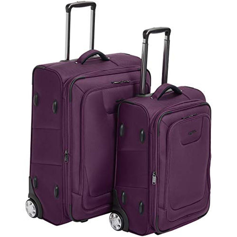 Amazonbasics Premium Softside Suitcase 2-Piece Set - 22/26-Inch, Purple