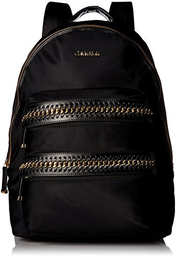 Calvin Klein Florence Nylon Woven Chain Pocket Backpack, Blk/Gold