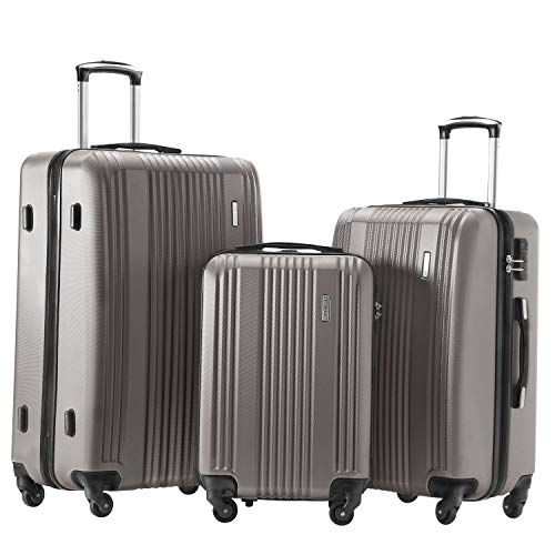 Hard Side Spinner Luggage 3 Piece Set Suitcase Spinner Hard Shell (sliver gray)